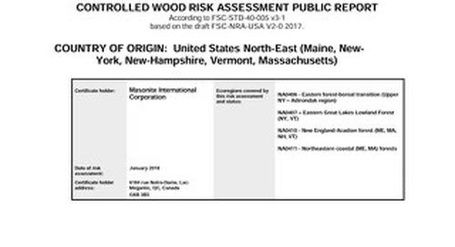 Masonite Controlled Wood Risk Assessment USA