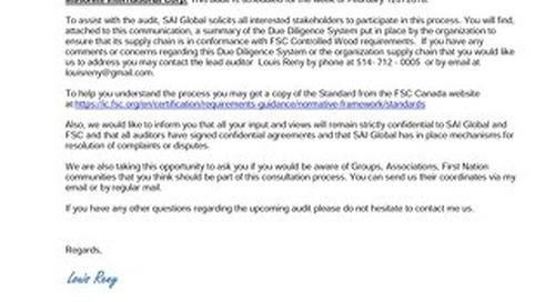 Masonite International Corp.– Public Notice