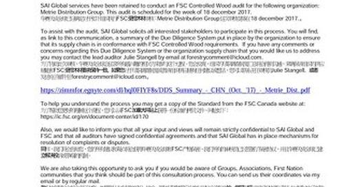 Metrie Distribution - FSC-CW-Public Notice-CHN