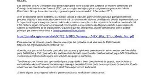 Metrie Distribution - FSC-CW-Public Notice-MEX