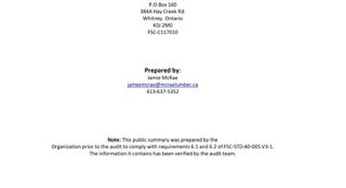 McRae Lumber-DDS Public Summary