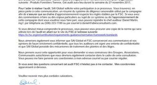 Produits Forestier Temrex Public Notice