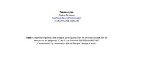 Produits Forestier Temrex Inc - DDS