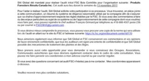 Resolute Forest Products Inc - FSC CW French