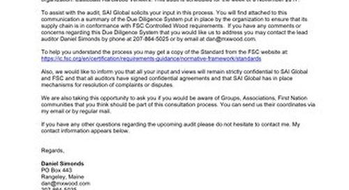 Eastcoast Hardwood Veneer Inc. - FSC Notice