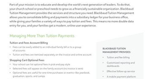 Blackbaud Tuition Management for Church Schools Datasheet