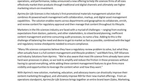 Aprimo Introduces New Solution for Life Sciences Industry that Improves Content Production and Work Management while Increasing ROI