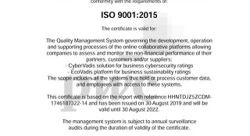 Ecovadis ISO 9001 Certificate
