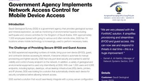 Government Agency Implements Network Access Control for Mobile Device Access