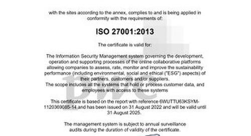 Ecovadis 27001 Certificate