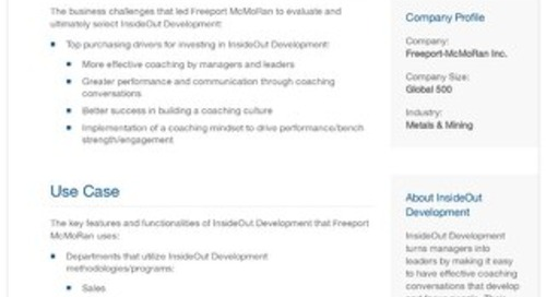 Freeport McMoRan and InsideOut Development: A Case Study