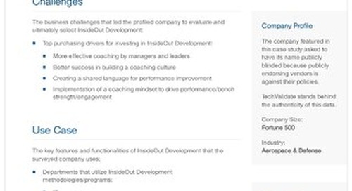 Fortune 500 Aerospace and Defense Company and InsideOut Development: A Case Study