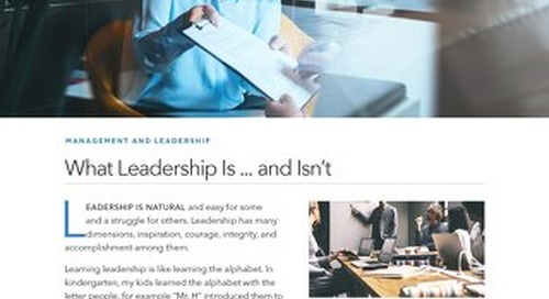 What Leadership Is ... and Isn't
