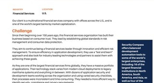 Multinational financial services company implements SD Elements