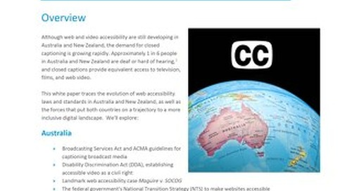 Web Accessibility and Closed Captioning in Australia & New Zealand
