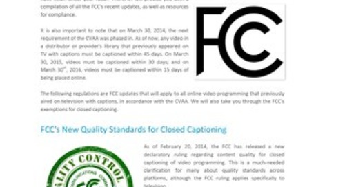FCC Rules for Closed Captioning of Online Video: Are you Compliant?