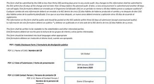 ASC083 Empagran Fincacua Form 3 Audit Announcements