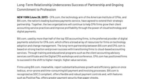 CPA.com Extends Strategic Alliance with Bill.com
