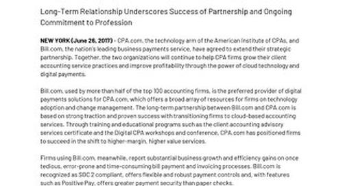 CPA.com Extends Strategic Alliance with Bill.com