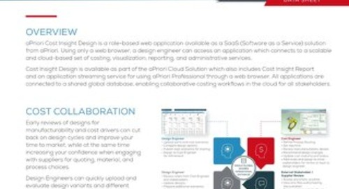 aPriori Cost Insight Design Datasheet