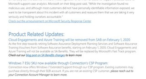 Connection's Microsoft Center of Excellence Newsletter - February 2020