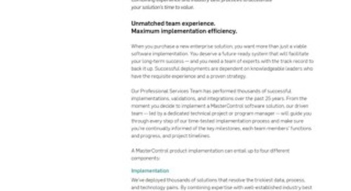 MasterControl Implementation