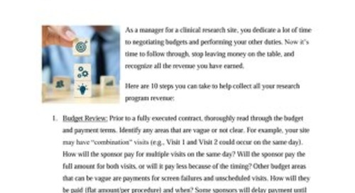 10 Tips to Help Research Sites Recognize Earned Revenue