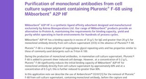 Purification of monoclonal antibodies from cell culture supernatant containing Pluronic® F-68 using MAbsorbent® A2P HF