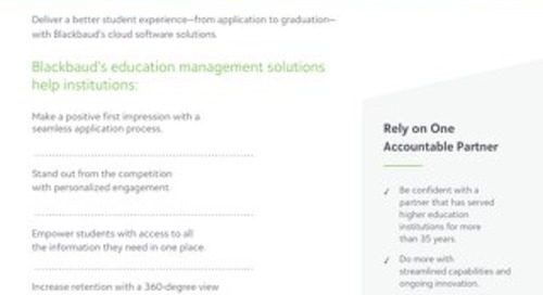 Data Sheet: Blackbaud's Education Management Solutions for Higher Ed