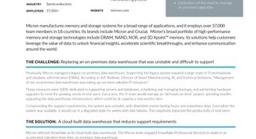 Micron: Migrating 500 TB of Data from a Legacy Data Warehouse to Snowflake