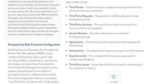 Best Practices Configuration for ProcessUnity Vendor Risk Management