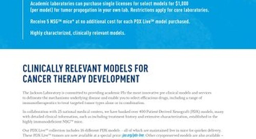 PDX Models: Special Pricing for Academics