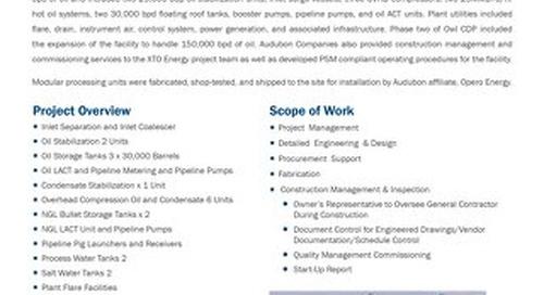XTO OWL CDPs Construction Management & Commissioning