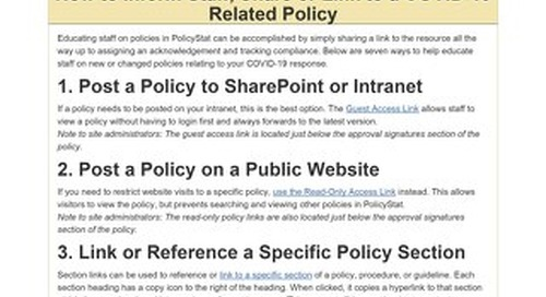 PolicyStat: How to Inform Staff, Share or Link to a COVID-19 Related Policy