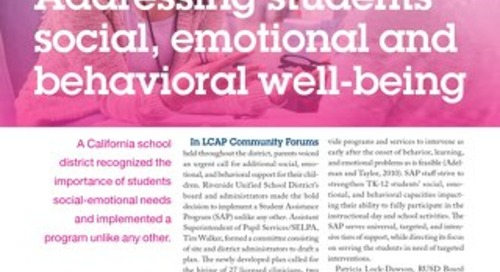 Addressing students' social, emotional and behavioral well-being SEPT-OCT 2018