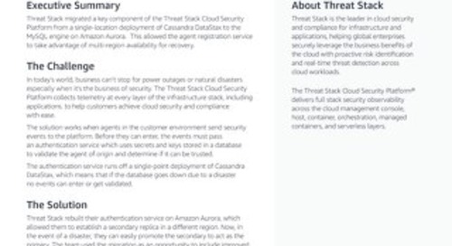 Threat Stack anchors disaster recovery for its authentication service on Amazon Aurora