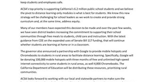 ACSA statement on facilities and district communications examples