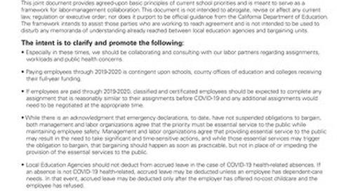 Joint Statement on Framework for Labor-Management Collaboration