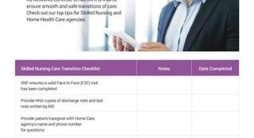 Transitions of Care Checklist for Skilled Nursing Facilities and Home Health Care Agencies