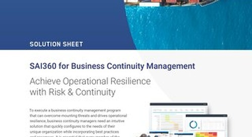 SAI360 for Business Continuity Management