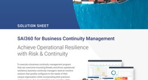 SAI360 for Business Continuity Management