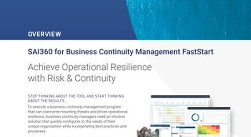 SAI360 for Business Continuity Management FastStart