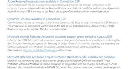 Connection's Microsoft Center of Excellence Newsletter-March 2020