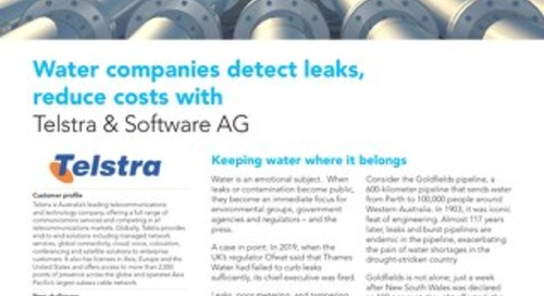 Water companies detect leaks, reduce costs with Telstra & Software AG's