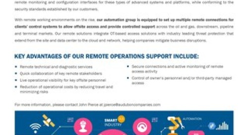 Remote Operation Support for Industrial Control Systems  & SCADA Platforms