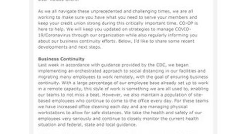 March 19, 2020 CO-OP Client Update on COVID-19