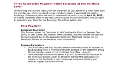 CO-OP Cardholder Payment Relief Solutions
