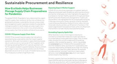 Sustainable Procurement and Resilience