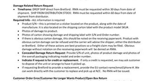 Bretford RMA Guidelines 2020