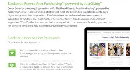 Data Sheet: Blackbaud Peer-to-Peer Fundraising for Higher Education